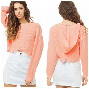 NEW Forever 21 | Distressed Peach Hooded Sweater M